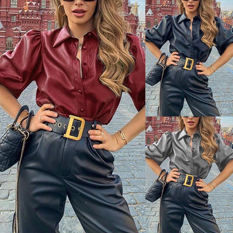 Женская рубашка из искусственной кожи, топы и блузки с длинным рукавом на пуговицах, Повседневная Уличная одежда, топ с пышными рукавами, черная, серая, красная блузка|Блузки и рубашки| | - AliExpress