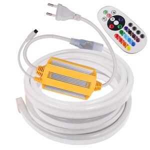 220 В RGB неоновый светильник Светодиодная лента 5050 водонепроницаемый неоновый символ в виде ленты диод 120 светодиодный s/M гибкая светодиодная...