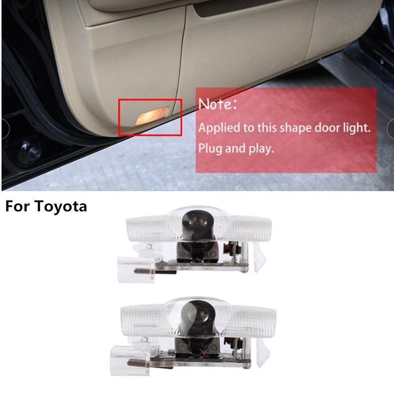 Светодиодный двери автомобиля логотип лампы проектора для Toyota Camry Land Cruiser PRADO LC120 LC150 Reiz Highlander Prius автомобиля Декор Добро пожаловать светильни...