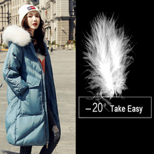 Winter Duck Women Long Jacket 2019 New Hooded White Duck Warm Parkas Kne-length Thick Snow Outwear Coat цена