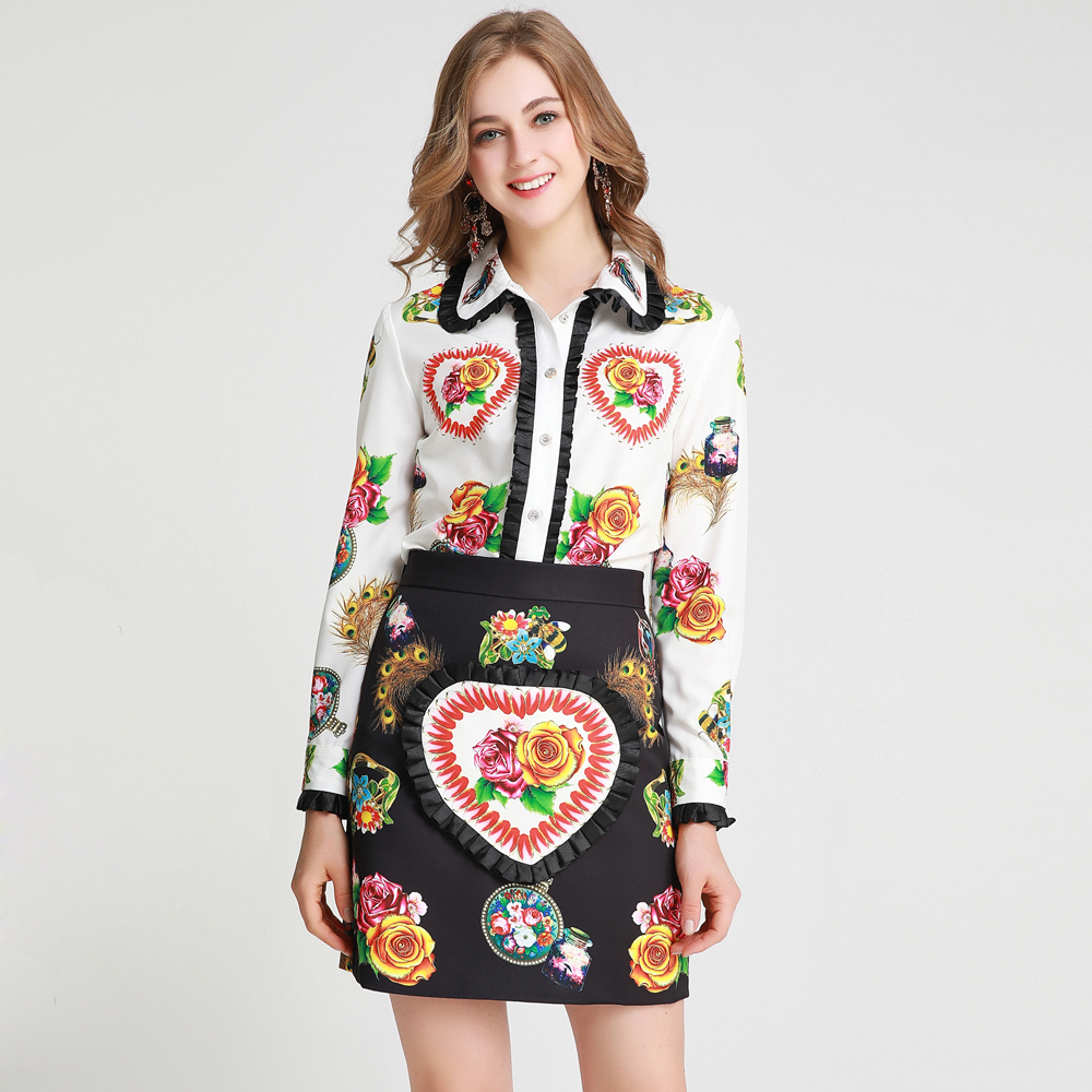 Red roosarosee 디자이너 가을 봄 여성 2 조각 세트 꽃 인쇄 긴 소매 셔츠 블라우스 + 미니 스커트 정장 패션 twinset-에서여성 세트부터 여성 의류 의  그룹 1