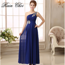 Chiffon Bridesmaid Dress 2019 One shoulder Floor Length Wedding Party Gowns Long Formal Dresses Cheap