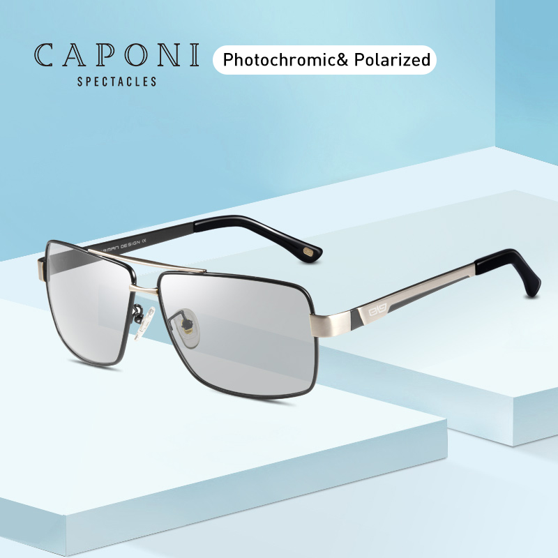 CAPONI Metal Sun Glasses Polarized Day And Night Driving Eyewear For Male High Quality Photochromic Sunglasses Oculos BS031-in Men's Sunglasses from Apparel Accessories