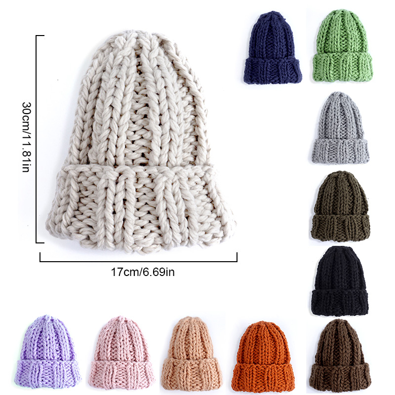 Women Hand Made Knitting Hat High Quality Customizable Logo Winter Warmer Ear Thick Soft Beanie Lady Chunky Knitted Rib Hats 78