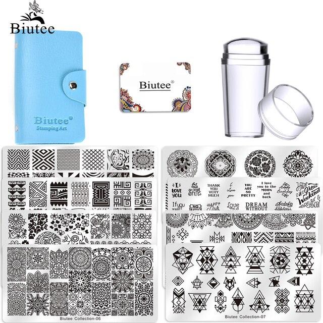 Biutee2020 Hot Nail Kits Set Nails Art Stamping Plate Scraper Stamper Flower Set15 plate 1Stamper 2Scraper 1storage bag