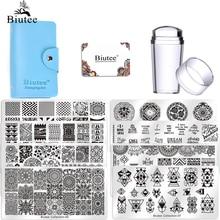 Biutee2020 sıcak tırnak seti seti tırnak sanat tırnak yapıştırması kazıyıcı Stamper çiçek Set15 levha 1Stamper 2 kazıyıcı 1 saklama çantası
