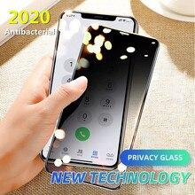 زجاج مضاد للبكتيريا كامل الخصوصية لهاتف آيفون 11 برو X XS MAX XR واقي للشاشة مضاد للتجسس لهاتف آيفون 6 7 8 Plus زجاج واقي