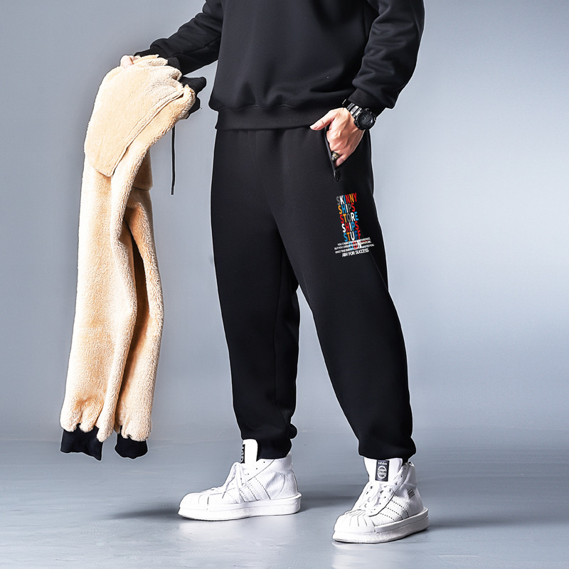 K72002-sk Color Word-Berber Fleece 358 Pants Plus-sized Brushed And Thick Cotton-padded Trousers Winter Trousers Sweatpants