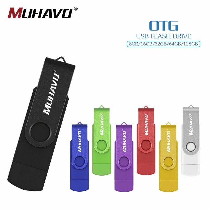 OTG USB Flash Drive 128gb Pen Drive 64gb 32gb 16gb Metal Pendrive 8GB 4gb Flash Drive USB Stick For Computer/Android Phone