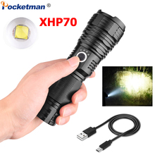 Super Powerful XHP70 LED Flashlight USB Rechargeable Torch Zoom Flashlight 5 Modes Waterproof Torch Use 18650 26650 Battery usb rechargeable flashlight nitecore mh10 7 modes max 1000 lume beam distance 232 meter outdoor torch 18650 2600mah battery