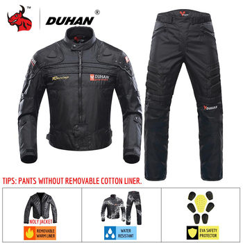 DUHAN Motorcycle Jacket Winter Protective Gear Men Moto Motocross Off-Road Racing Jacket Body Armor+ Riding Pants Clothing Set duhan summer motorcycle jacket men breathable mesh riding moto jacket motorcycle body armor protector moto cross clothing