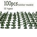 100 шт., военный игровой набор, пластиковая игрушка, солдаты, 3,8 см, фигурки, ремесло, украшение, коллекция, подарок для детей, детские гаджеты, и...