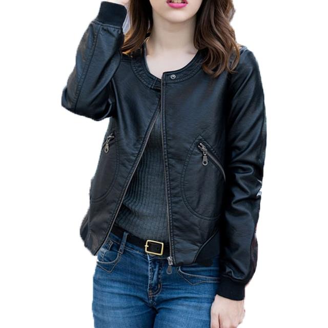 Fitaylor Faux Leather Jacket Women O-neck Casual Biker Jackets Female Motorcycle Coat Plus Size 4XL Soft PU Basic Black Outwear 6