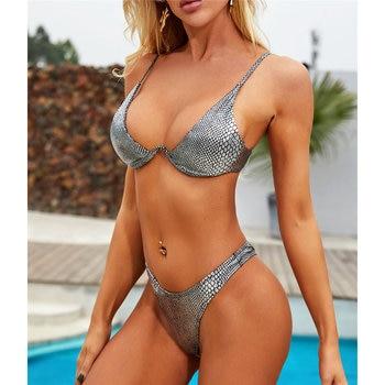 Sexy Neon V-bar Underwired Bikini 2019 Female Ribbed Swimsuit Women Thong Swimwear Two-pieces Bikini set Push up Bathing Suit 5