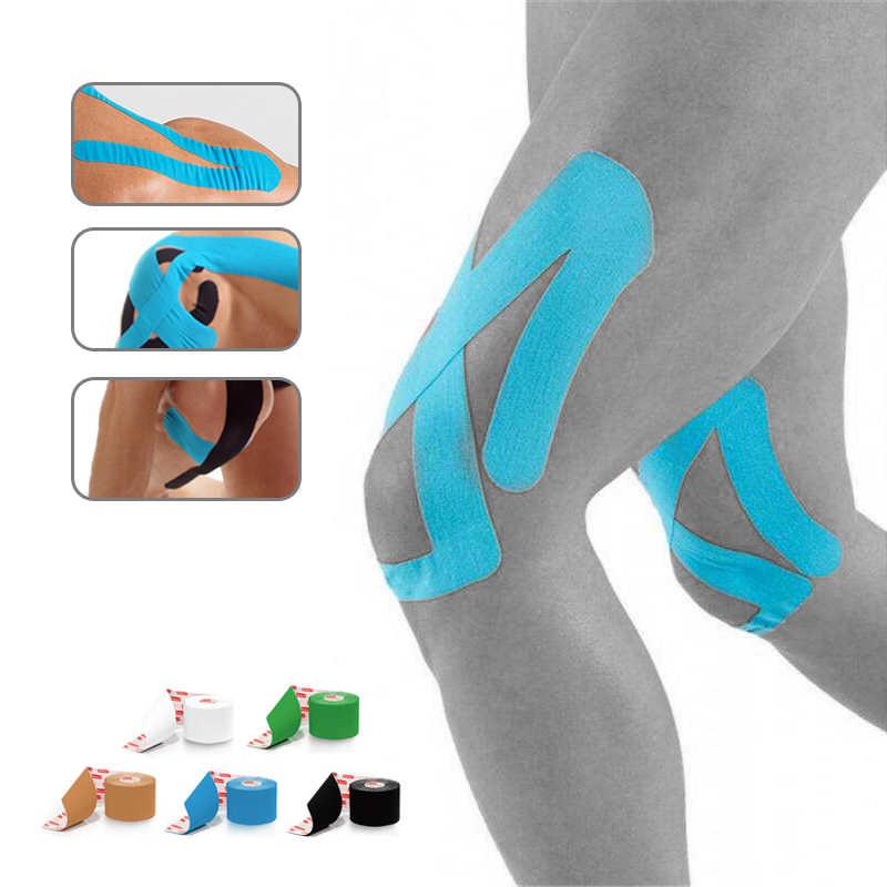 Pamuk elastik kinesiyoloji bandı terapötik atletik su geçirmez spor güvenlik bandaj kas destek yapıştırıcı Kinesio bant
