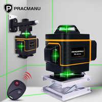 Pracmanu 16 linhas 4d nível de nível de laser auto-nivelamento 360 horizontal e vertical cruz super poderoso laser verde nível