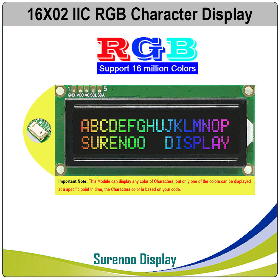 Grove 162 16x2 1602 3.3-5 v série iic i2c fstn caráter negativo lcd módulo tela painel lcm com luz de fundo rgb