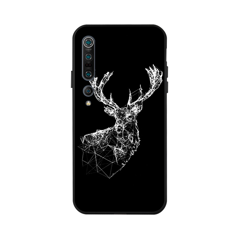 For Xiaomi Redmi Note 8 Pro 8T 7 Case Xiomi Mi 10 Pro 5G 3D DIY Painted Black Phone Cover For Xiaomi Mi 9T A3 Mi 10 Cases Bumper