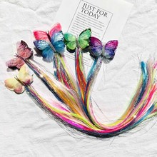 Colorful Long Pigtails Butterfly Hair Clip for Girls Glitter Bows Barrettes Hairpins Fashion Kids Accessories