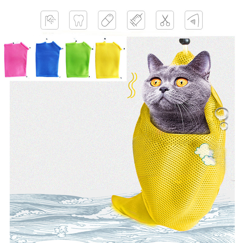 Adjustable Mesh Cat Grooming Bath Washing Bags For Bathing Nail Trimming Injecting Anti Scratch Bite Restraint Cat AccessoriesCM