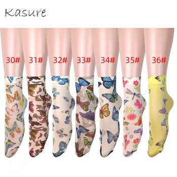 KASURE Butterfly Print Yellow Color Long Socks For Women Girls New Fashion Elastic Spring Summer Ankle