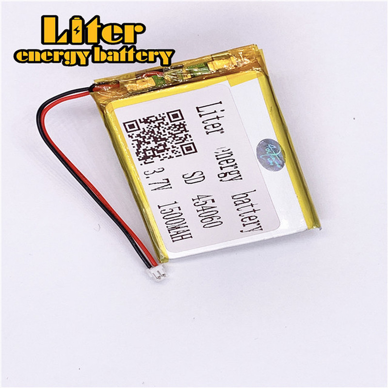 1.5MM 2pin connector Hot selling lithium <font><b>3.7</b></font> <font><b>V</b></font> 454060 <font><b>1500mah</b></font> e-books GPS PDA Car recorder polymer rechargeable lipo battery image