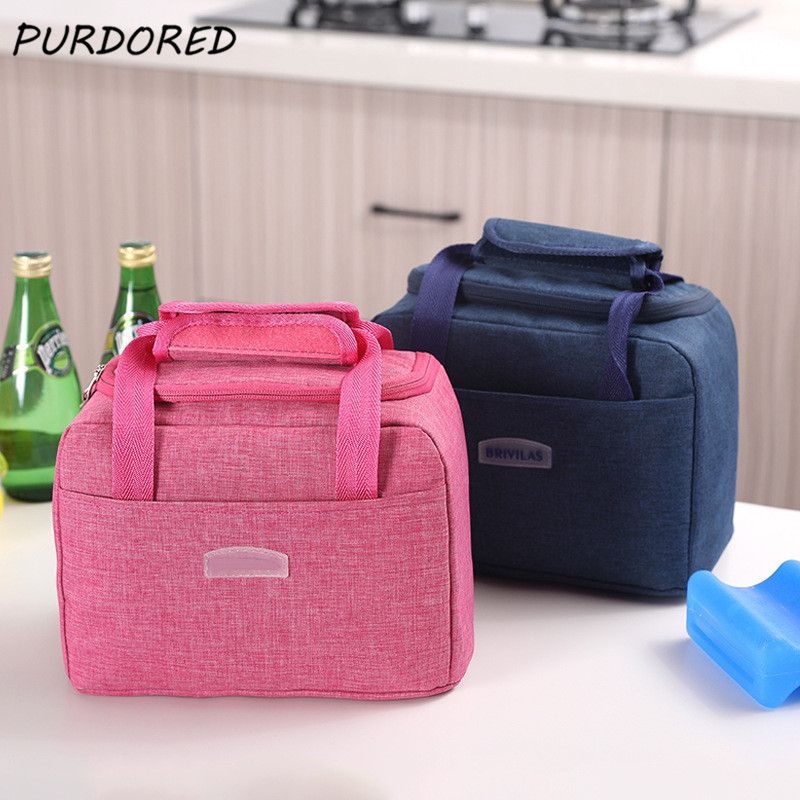 PURDORED 1 Pc Portable Large Lunch Bag Waterproof Food Picnic Lunch Box Bag Insulated Women Cooler Bags Fresh Bento Food Pouch