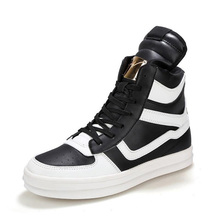 Hip Hop Street Dance Mens Chunky Sneaker Brand Leather Shoes Men Sneakers Footwear Platform White High Top