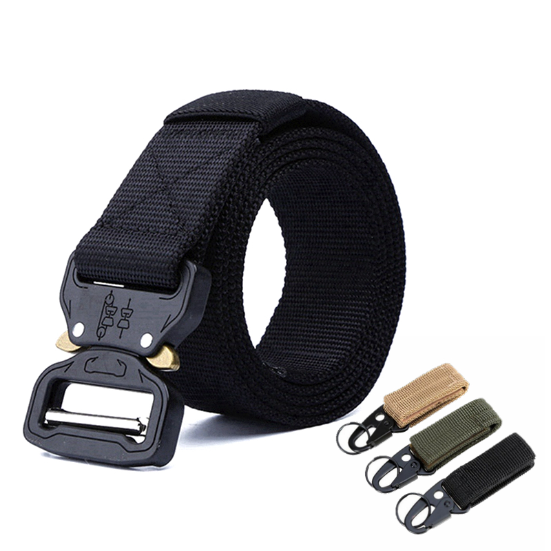 Men Army Belt Tactical Nylon Waist Belt Outdoor High Quality Automatic Metal Buckle Training Active Belts 145cm Plus Size
