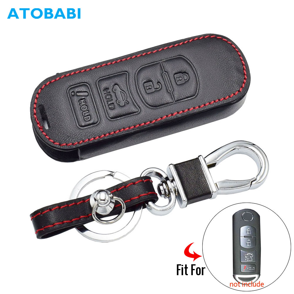Leather Car Key Case For <font><b>Mazda</b></font> 3 6 MX-5 <font><b>CX</b></font>-5 <font><b>CX</b></font>-7 <font><b>CX</b></font>-<font><b>9</b></font> SCION IA 4 Buttons Remote Fob Cover Keychain Protector Bag Auto <font><b>Accessory</b></font> image