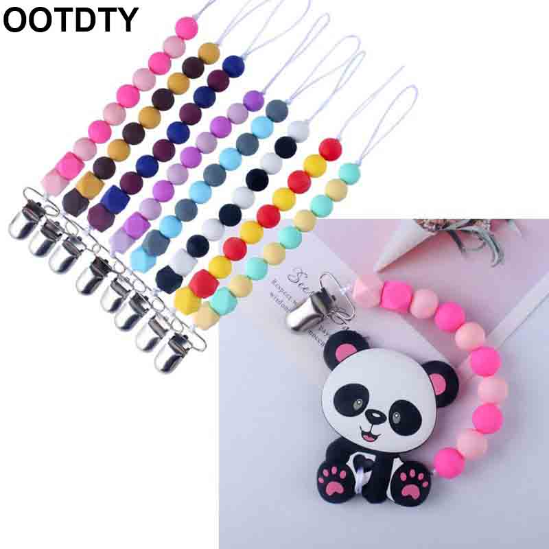 Silicone Teething Pacifier Clips Beads Silicone Pacifier Chain Holder For Nipples Baby Chew Toys 26cm