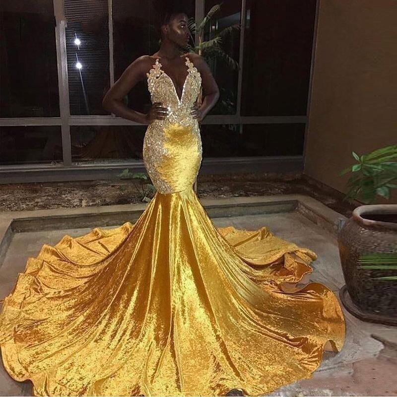 Nouveau jaune dentelle Appliques sirène robes de bal vestidos de fiesta de noche africain noir filles femmes robe formelle robes de soirée
