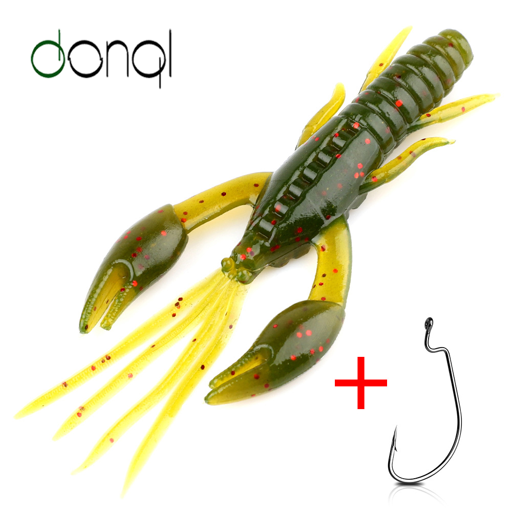 DONQL 20pcs Larva Silicone Soft Lure 50mm 0.6g Wobbler Worm Fishing Bait + 5pcs Offset Hook Jigging Swimbait Lures Tackle