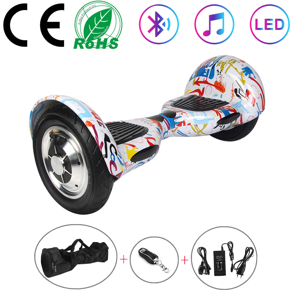 Hoverboard 10 Inch White Graffiti Electric Scooters Self-Balancing Scooter 2 Wheels Balance Skateboard Bluetooth+Remote Key+Bag