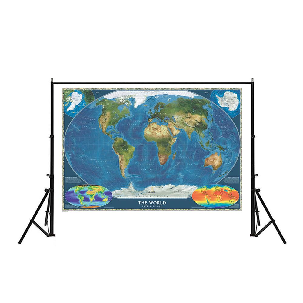 Non-woven Spray World Map 150x225cm The World Satellite Map With Flag And Surface Temperature Map