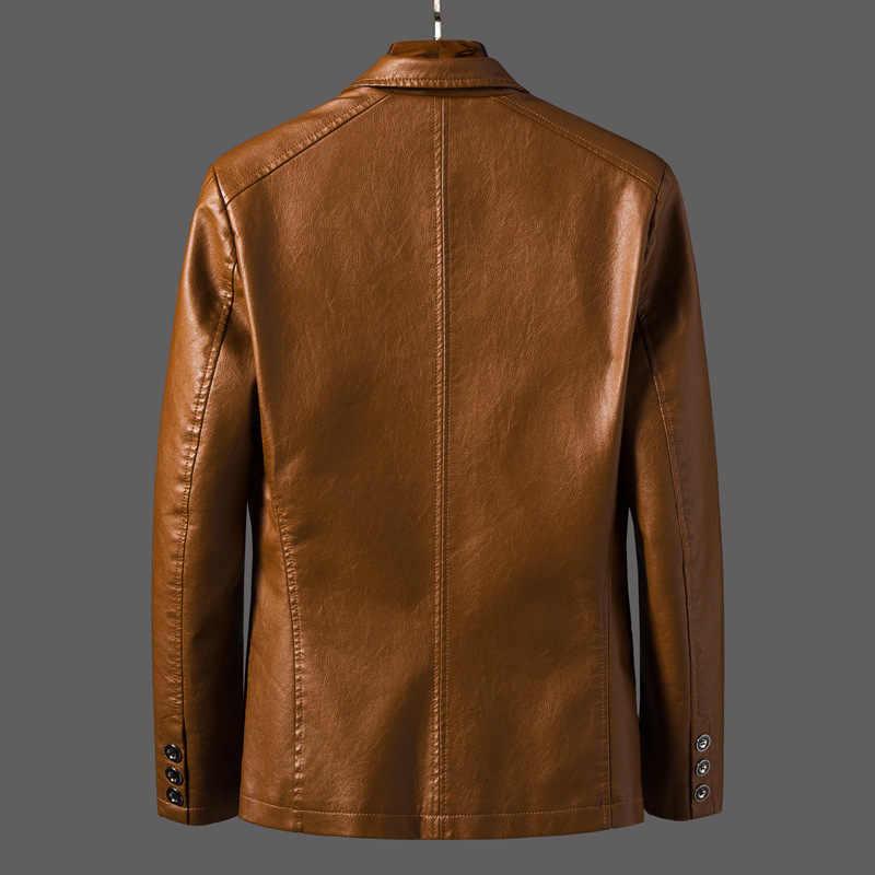 2019 Neue Smart Casual Blazer Leder Jacke Männer Lose Mantel Männer Koreanische Dünne Baseball Uniform Motorrad Kleidung Leder Jacke
