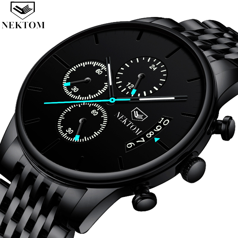 NEKTOM Fashion Mens Watches Top Brand Luxury Quartz Watch Men Casual Slim Mesh Steel Waterproof Sport Watch Relogio Masculino