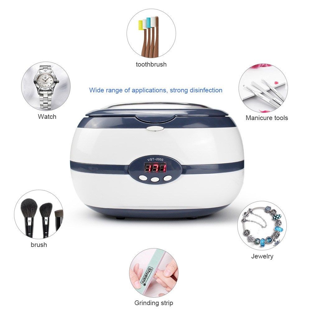 Ultrasonic Cleaner Bath Jewelry Parts Glasses Manicure Stones Cutters Dental Razor Brush Ultrasound Sonic Cleaner 220V 600ml