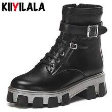 Kiiyilala Genuine Leather Chunky Heels Motorcycle Boots Women New Round Toe Cross-tied Buckle Ladies Zipper Platform Shoes