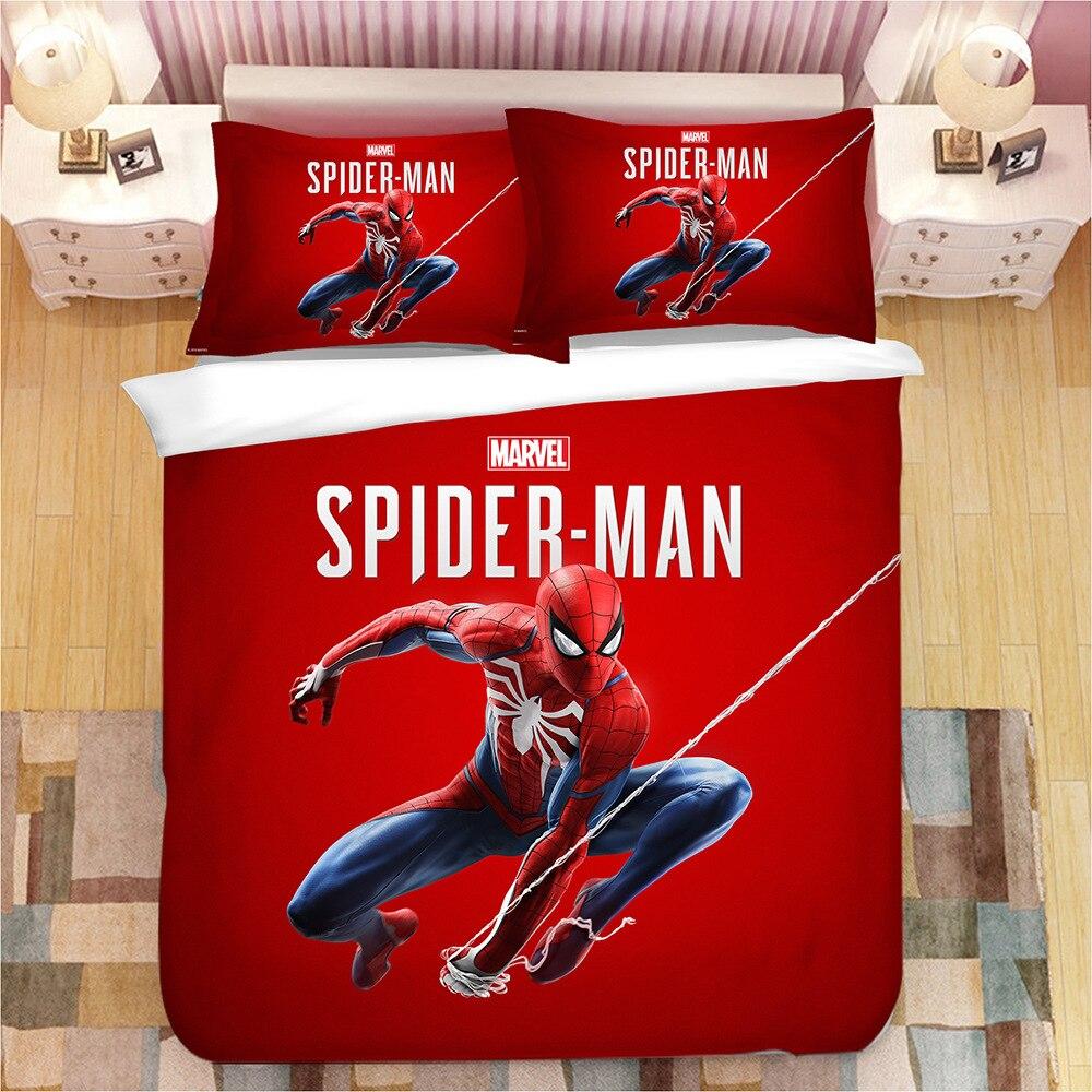 Dortoir étudiant lits bande dessinée Spiderman ensemble de literie garçon & filles les Avengers housse de couette ensemble princesse linge de lit Batman literie