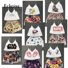 Satin Pajamas Corset Pj-Sets Crop-Top Home Clothes Sexy Cartoons Women Sleeveless V-Neck