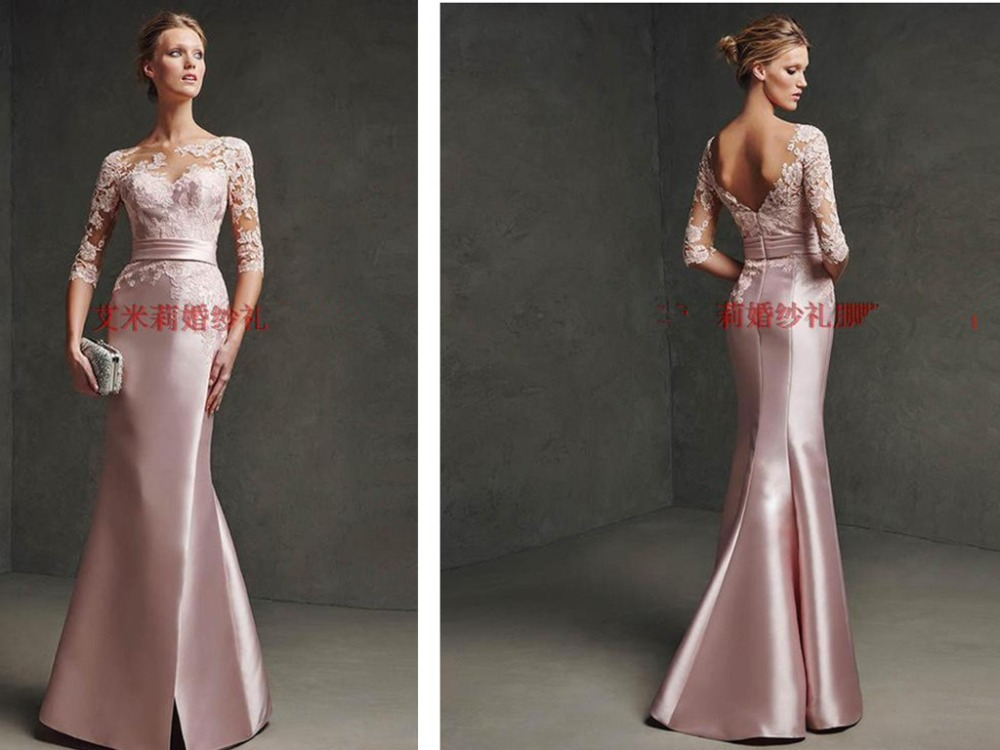 New Arrival Three Quarter Sleeves Lace Appliques Hot Sexy Pink Long Party Mermaid Evening Dress Elegant Formal Gown 2015