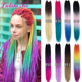 24inch Ombre Senegalese Twist Hair Crochet Braids  30 Roots/Pack Synthetic Braiding Hair For Women Grey Blue Pink eleni bizas learning senegalese sabar