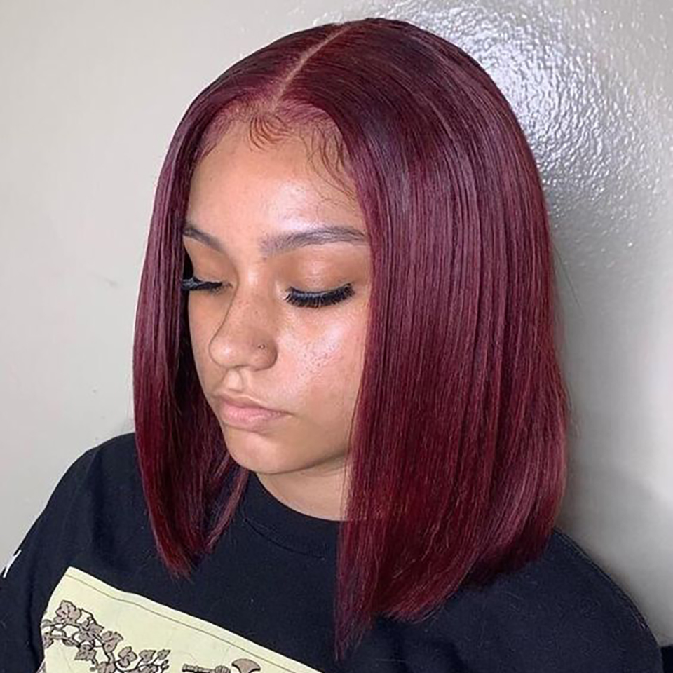 13X4 Frontal Lace Wig Burgundy 99J Color Wig 150% Pixie Short Bob Cut  Wigs  Preplucked   6