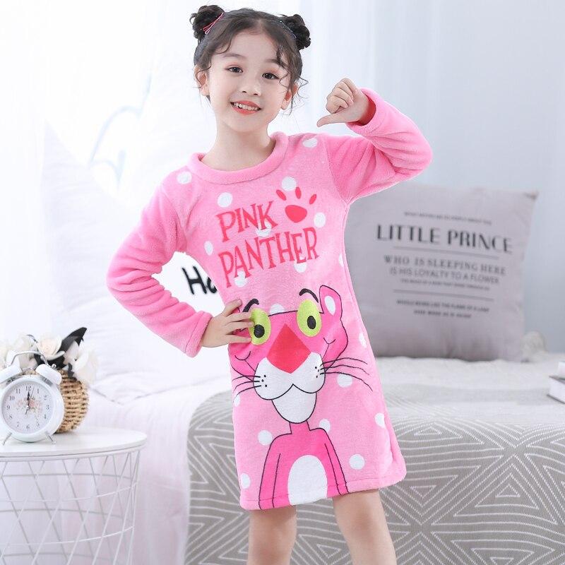 WAVMIT 2019 Children Cloth 3D Print Autumn Sleepdress Girls Baby Flannel Girl Sleepwear Dress Kids Party Princess Nightgown Girl