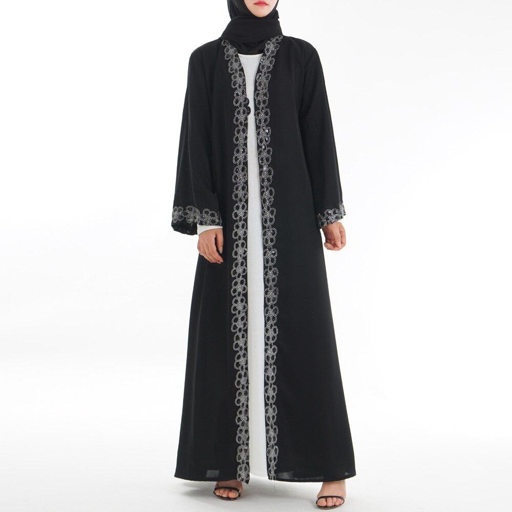 Black Ramadan Dubai Abaya Kimono Hijab Muslim Women Dress Turkish Islam Clothing Abayas Caftan Kaftan Robe Musulman Turkey