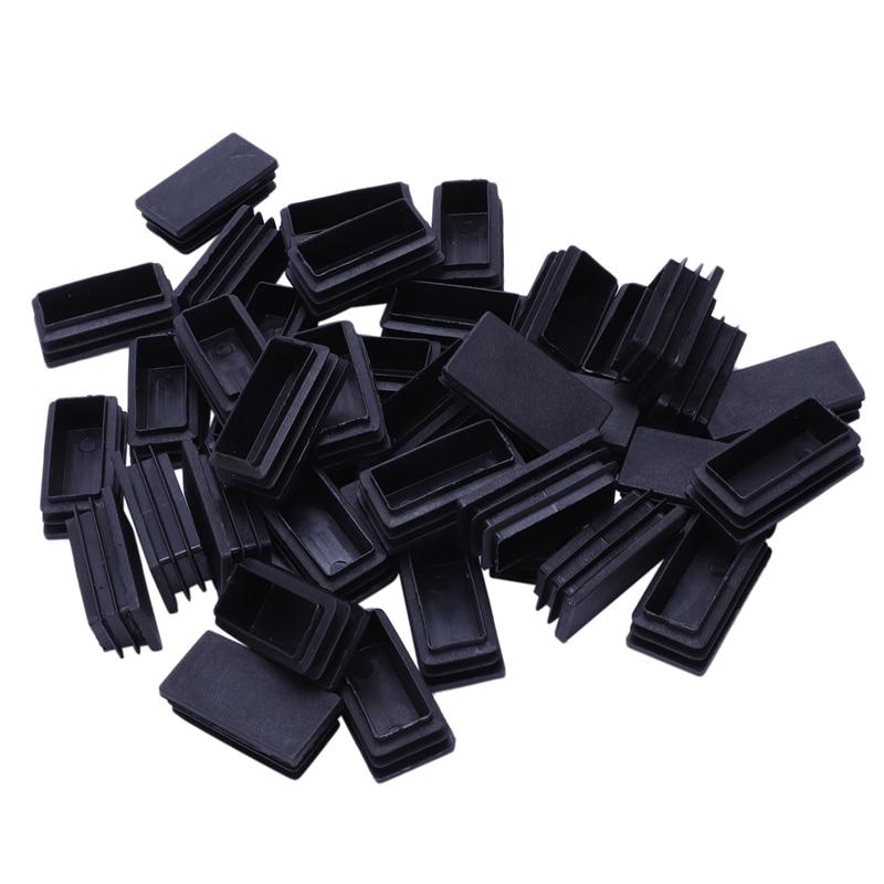 Plastic Blanking End Cap Tubing Tube Inserts 25mmx50mm 40 Pcs Black