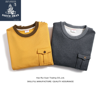Saucezhan Military Pocket Sweatshirt Men's Sweater Plus Fleece Sweater Pullover Sweater Yellow Velvet Sweater Men's Pullovers фото