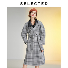 SELECTED Women's Loose Fit Plaid Silhouette Overcoat LAB | 419421501