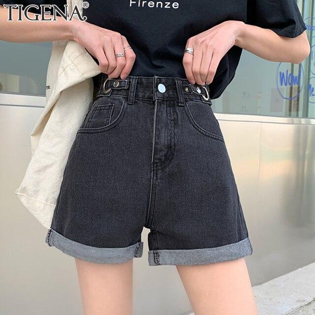 TIGENA High Waist Denim Shorts Women 2021 Summer Casual All-Match Jeans Shorts Female with Pocket Black White 1